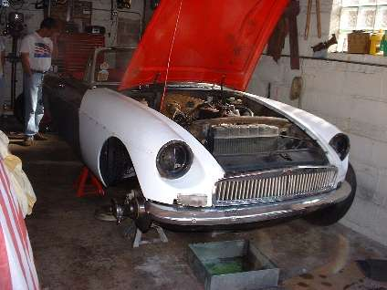 MGB in garage for service