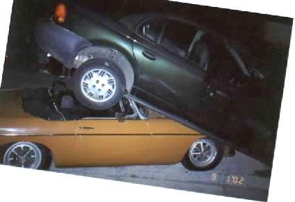 MGB under Saturn after accidend