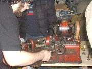 Seth Jones demonstrating the valve grinder